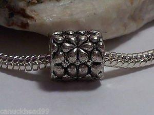 1pc Tibetan Silver Flower Printed Tube Spacer Large Hole European Bead Charm