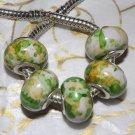 10pc Acrylic Silver Buckle Core European Charm Beads Green Yellow Paint Splatter