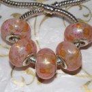 10pcs Acrylic Silver Buckle Core European Charm Beads Transparent Pink Orange