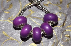 10pcs Acrylic Silver Buckle Core European Charm Beads Bracelet Solid Purple