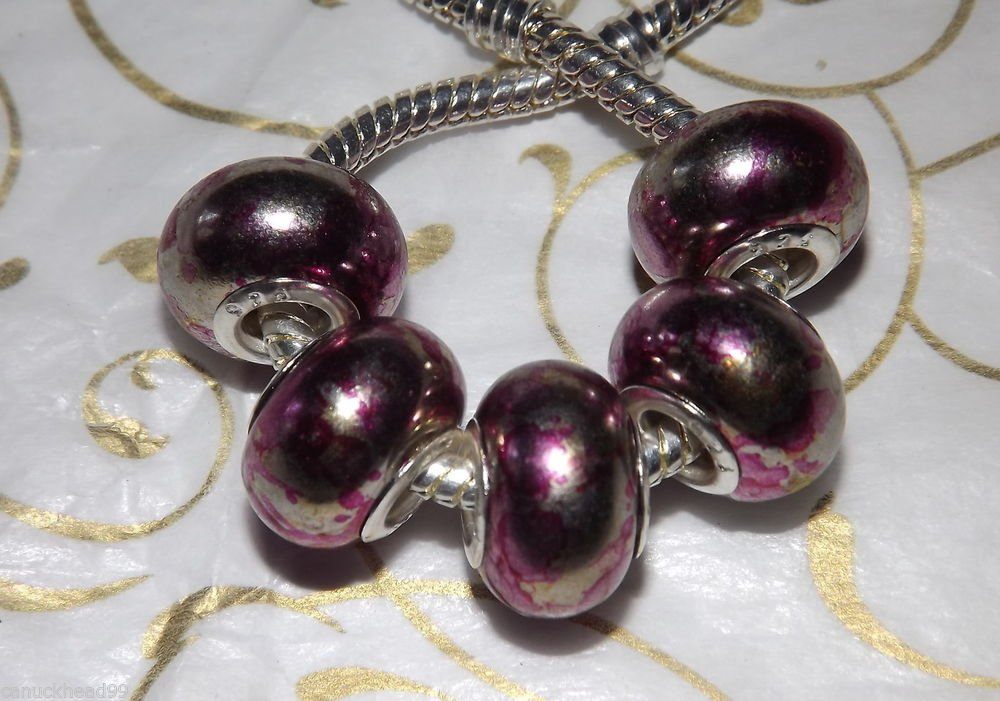 10pcs Acrylic Silver Buckle Core European Charm Beads Magenta Metallic