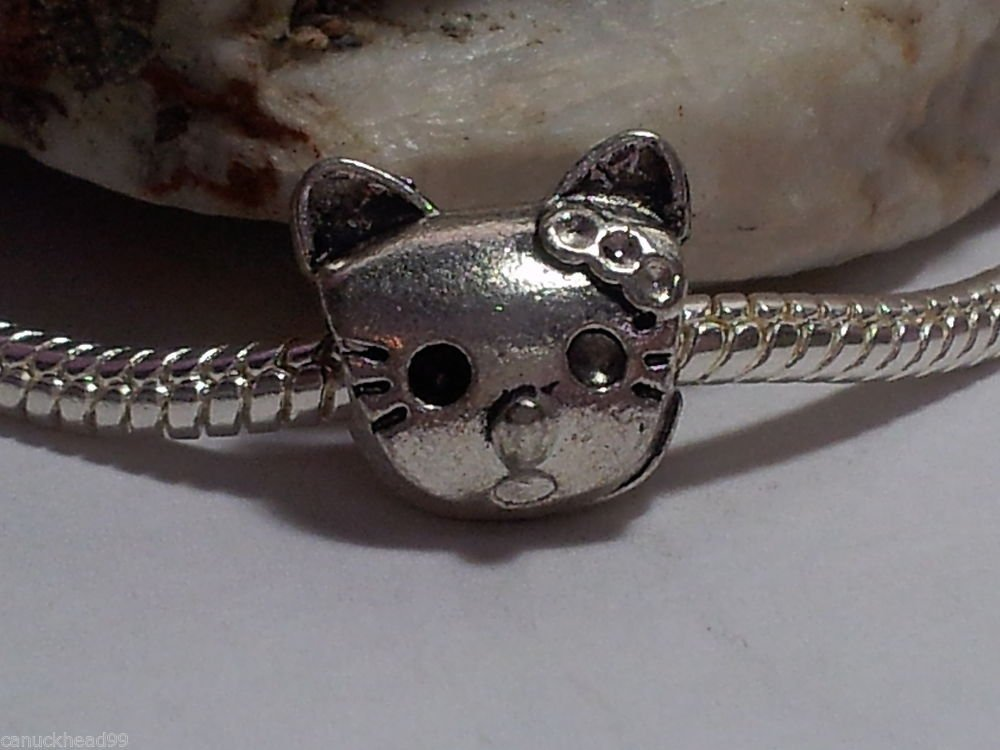 1pc Tibetan Silver Large Kitty Cat Spacer Large Hole European Bead Charm Hello