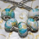 10pcs Acrylic Silver Buckle Core European Charm Beads Blue Yellow Paint Splatter