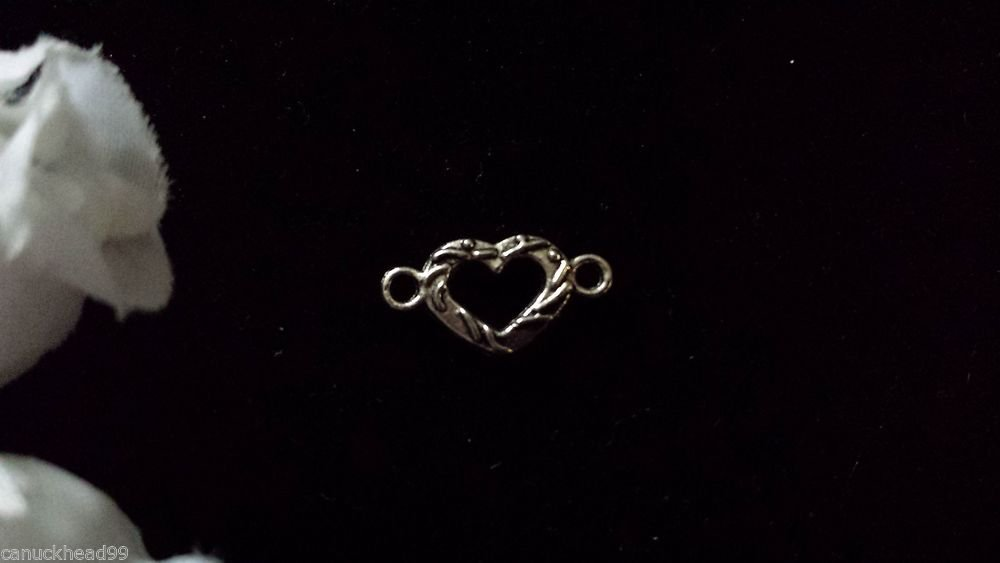 12pcs Tibetan Silver Metal Alloy Charm Charms Pendant Mini Heart Link 8x16mm