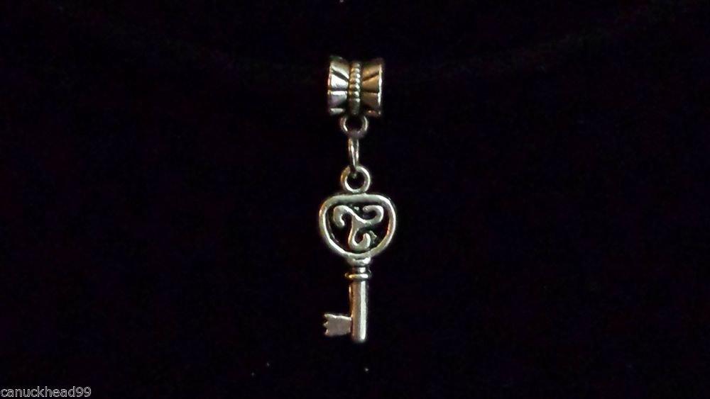 1pc Silver Tone Charm Dangle Spacer Large Hole Bead European Bracelet Key