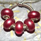 10pcs Acrylic Silver Buckle Core European Charm Beads Bracelet Transparent Red