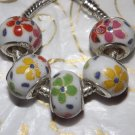 10pcs Ceramic Silver Buckle Core European Charm Beads Flower Print