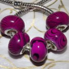 10pcs Acrylic Silver Buckle Core European Charm Beads Magenta Black Stripes