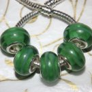 10pcs Murano Glass Silver Buckle Core European Charm Beads Green Swirl