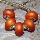 10pcs Acrylic Silver Buckle Core European Charm Beads Bracelet Solid Orange