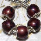 10pcs Acrylic Silver Buckle Core European Charm Beads Drum Brown