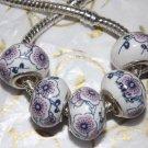 10pcs Ceramic Silver Buckle Core European Charm Beads Pink Floral Print