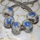 10pcs Ceramic Silver Buckle Core European Charm Beads Blue Floral Print