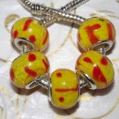 10pcs Murano Glass Silver Buckle Core European Charm Beads Yellow Orange Spots
