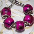 10pcs Acrylic Silver Buckle Core European Charm Beads Drum Hot Pink