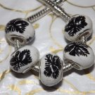 10pcs Ceramic Silver Buckle Core European Charm Beads Black Leaf Print