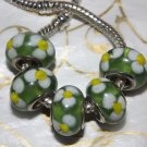 10pcs Murano Glass Silver Buckle Core European Charm Beads Green White Flowers