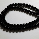 6MM BLACK ``JADE`` SERPENTINE ROUND GEMSTONE LOOSE BEADS STRAND 16``