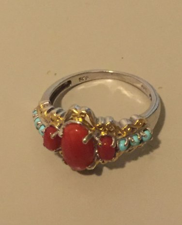 Mediteranean Coral and turquoise ring
