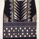 Boohoo Aztec Foil Mini Skirt - Size UK 6, black and gold.