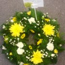 Loose yellow and white floral wreath