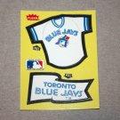 1985 FLEER BASEBALL - Toronto Blue Jays Team Jersey & Flag Yellow Sticker Card