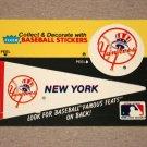 1986 FLEER BASEBALL - New York Yankees Team Logo & Pennant Sticker Card