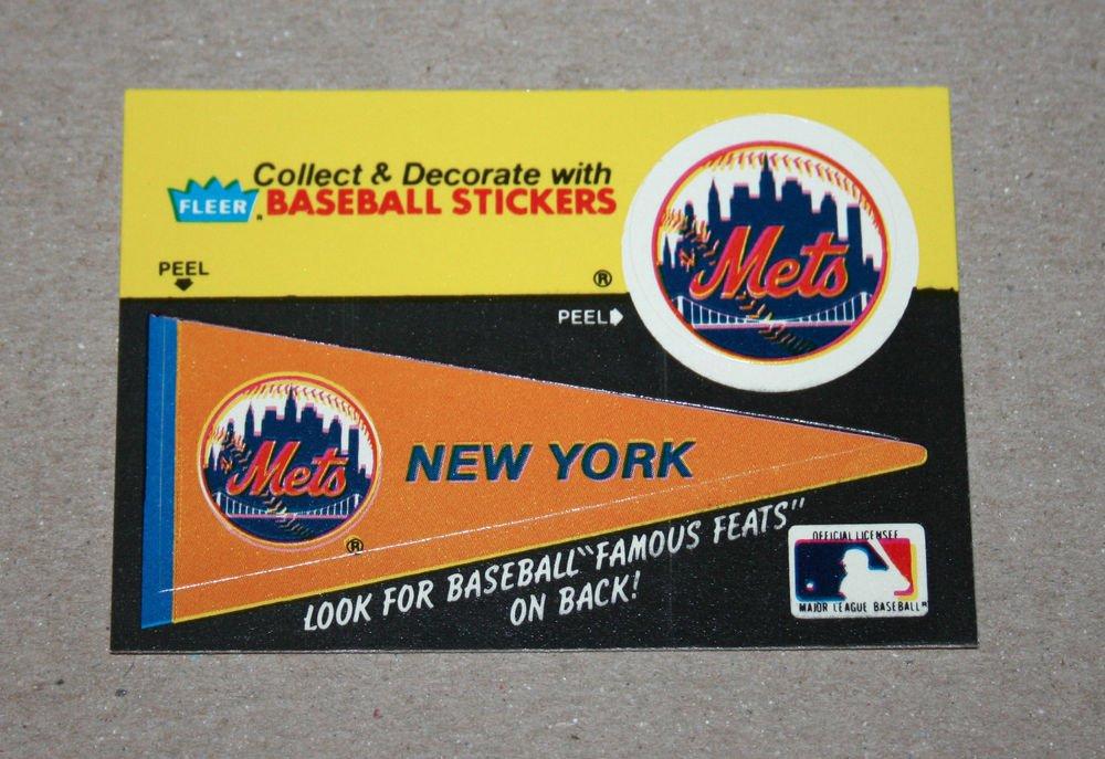 1986 FLEER BASEBALL - New York Mets Team Logo & Pennant Sticker Card