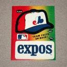 1984 FLEER BASEBALL - Montreal Expos Team Logo & Hat Sticker Card