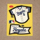 1985 FLEER BASEBALL - Kansas City Royals Team Jersey & Flag Yellow Sticker Card