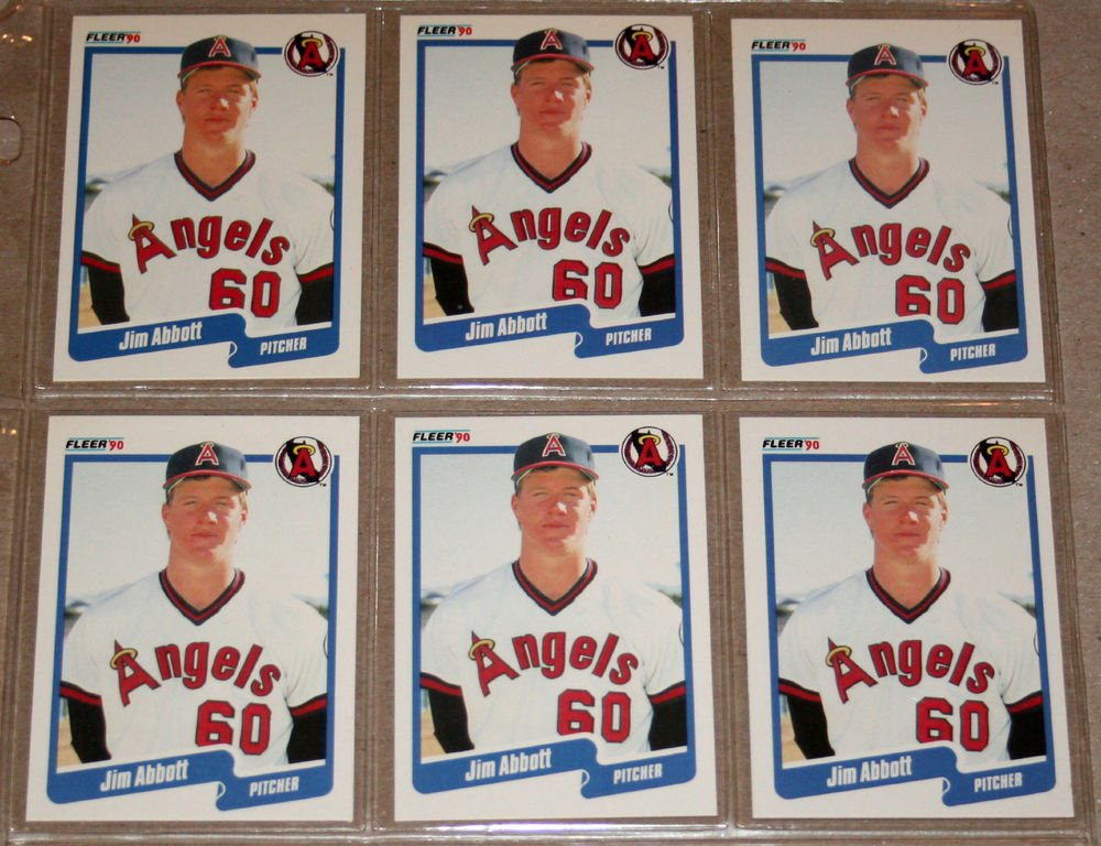 Lot of (6) 1990 FLEER BASEBALL - Jim Abbott Cards