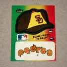 1984 FLEER BASEBALL - San Diego Padres Team Logo & Hat Sticker Card