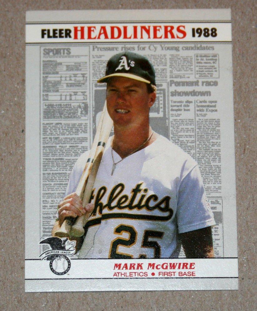 """1988 FLEER BASEBALL """"Headliners"""" - Mark McGwire (#2)"""