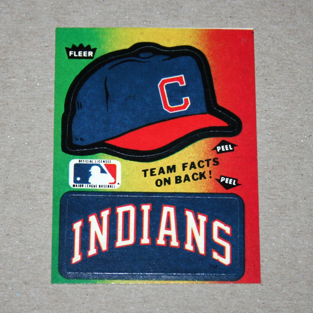 1984 FLEER BASEBALL - Cleveland Indians Team Logo & Hat Sticker Card