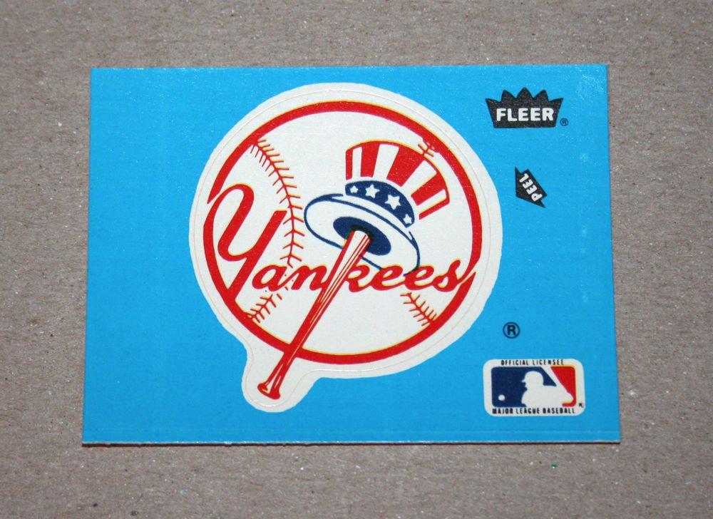 1985 FLEER BASEBALL - New York Yankees Team Logo Blue Sticker Card