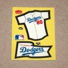 1985 FLEER BASEBALL - Los Angeles Dodgers Team Jersey & Flag Yellow Sticker Card