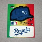 1984 FLEER BASEBALL - Kansas City Royals Team Logo & Hat Sticker Card