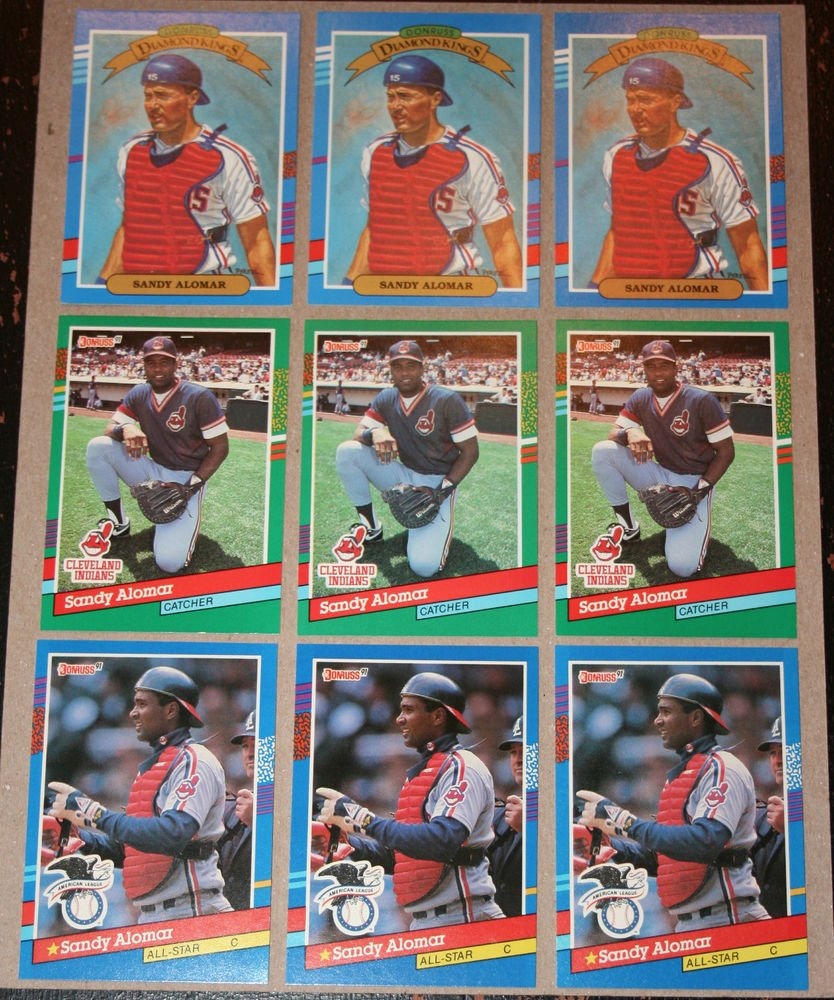 Lot of (9) 1991 DONRUSS BASEBALL - Sandy Alomar Jr. Baseball Cards