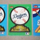Lot of (3) FLEER BASEBALL - Los Angeles Dodgers Team Logo Sticker Cards