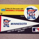 1986 FLEER BASEBALL - Minnesota Twins Team Logo & Pennant Sticker Card