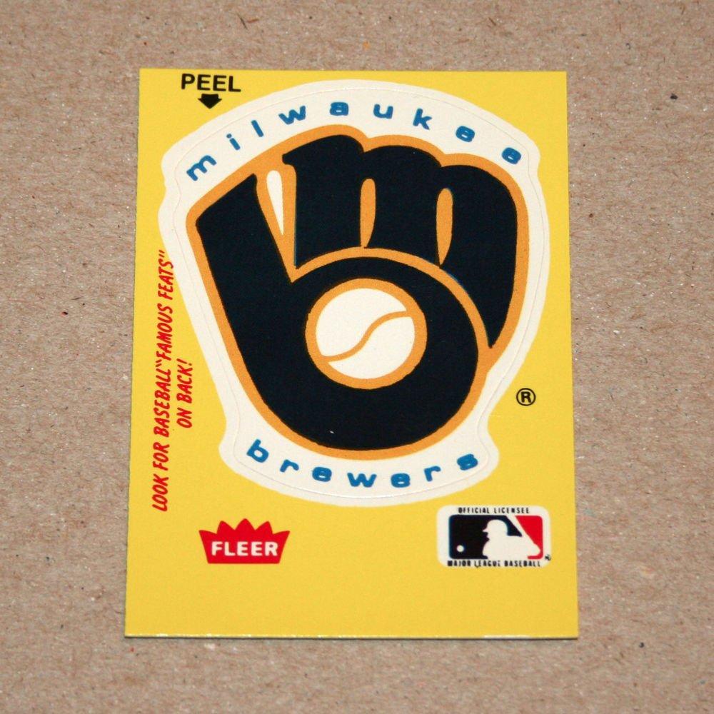 1986 FLEER BASEBALL - Milwaukee Brewers Team Logo Yellow Sticker Card