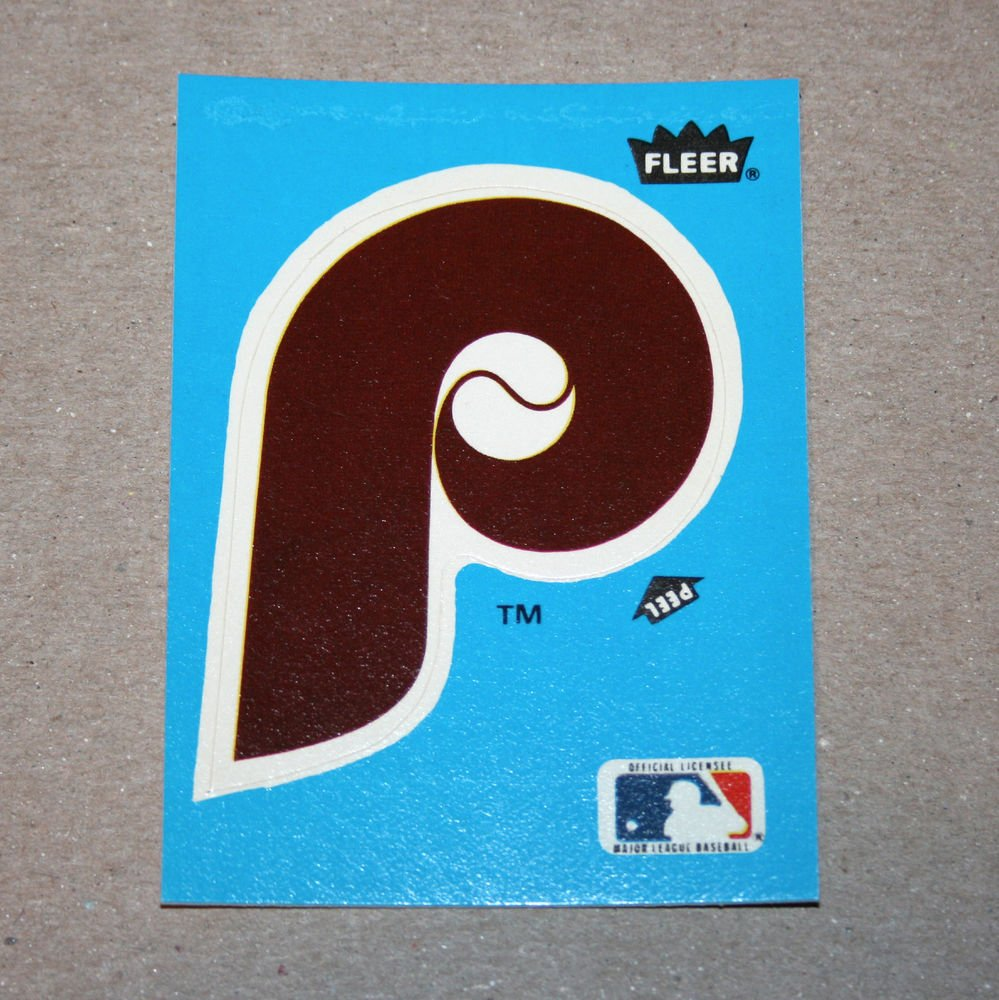 1985 FLEER BASEBALL - Philadelphia Phillies Team Logo Blue Sticker Card