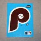 1985 FLEER BASEBALL - Philadelphia Phillies Team Logo Blue Sticker Card