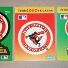 Lot of (3) FLEER BASEBALL - Baltimore Orioles Team Logo Sticker Cards