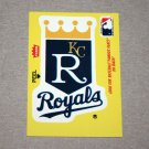 1986 FLEER BASEBALL - Kansas City Royals Team Logo Yellow Sticker Card