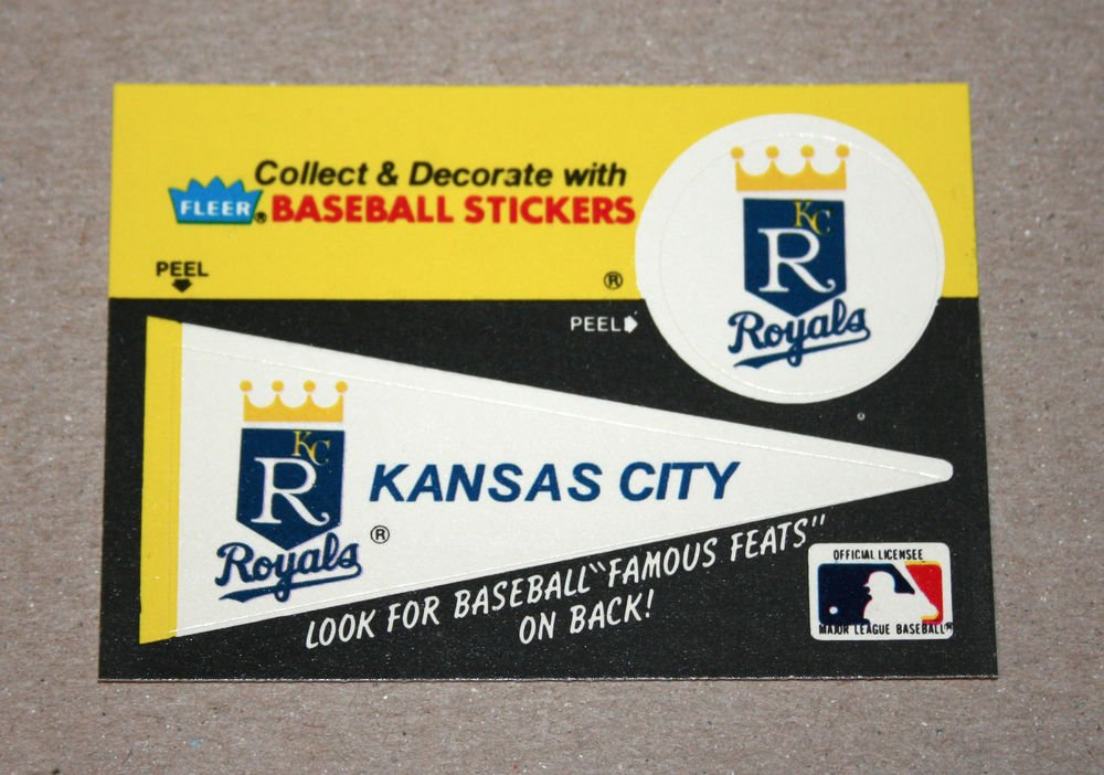 1986 FLEER BASEBALL - Kansas City Royals Team Logo & Pennant Sticker Card