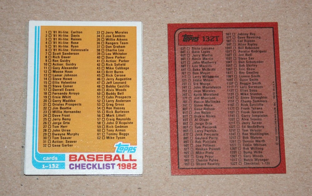 1982 TOPPS BASEBALL - Checklist Set + Traded Series