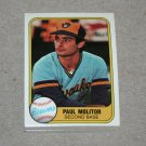 1981 FLEER BASEBALL - Milwaukee Brewers Team Set