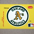 1986 FLEER BASEBALL - Oakland Athletics Team Logo Yellow Sticker Card