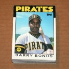 1986 TOPPS BASEBALL - Pittsburgh Pirates Team Set + Traded Series